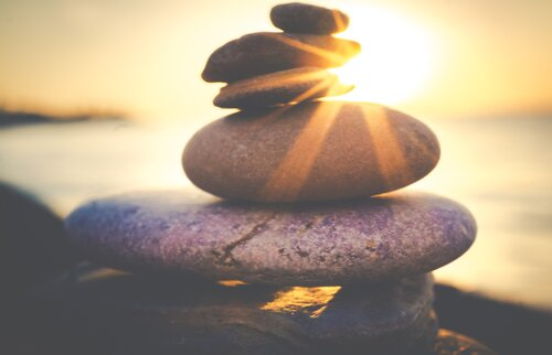 Stack stones and sunset