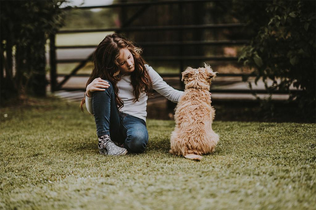 woman and medium sized shaggy dog